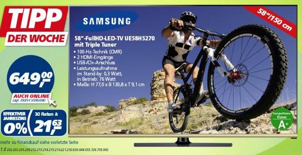 [Real]  Samsung UE58H5270, 150 cm (58 Zoll), 1080p (Full HD) LED Fernseher, schwarz , EEK:A+  649€  ab 3.11.14