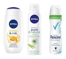 [BUDNIKOWSKY] Nivea Dusch Honey & Milk 250ml / Nivea Deo-Spray Pure Fresh 150ml / Rexona compressed Deo Spray 75ml für 0,77€