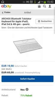 Archos Bluetooth Tastatur Keyboard für Apple iPad2, iPad 3rd & 4th gen - qwertz