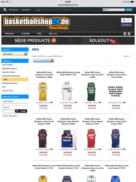 40% Rabatt auf alle Adidas NBA Artikel bei basketballshop24.de
