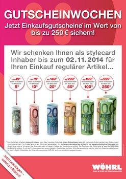 Wöhrl Einkaufsgutscheine ab 49€ sichern nur bis 2.11