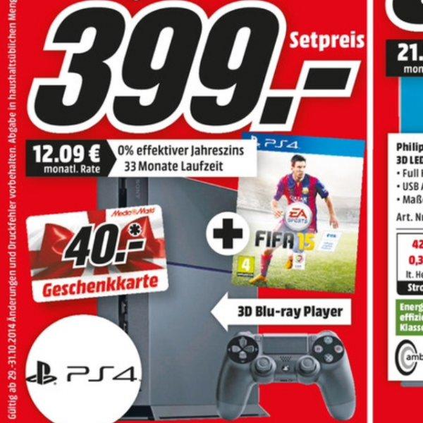 [Media Markt Trier] PS4, inkl. 2 Controller + FIFA 15 und 40€ Geschenkkarte