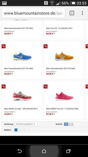 Verschieden Sneaker für Damen & Herren bis zu 50% reduziert auf bluemountainstore.de
