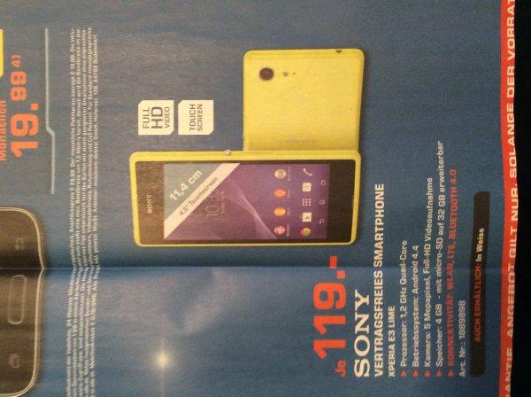 [Saturn Ingolstadt] Smartphone Sony Xperia E3 in lime und weiß