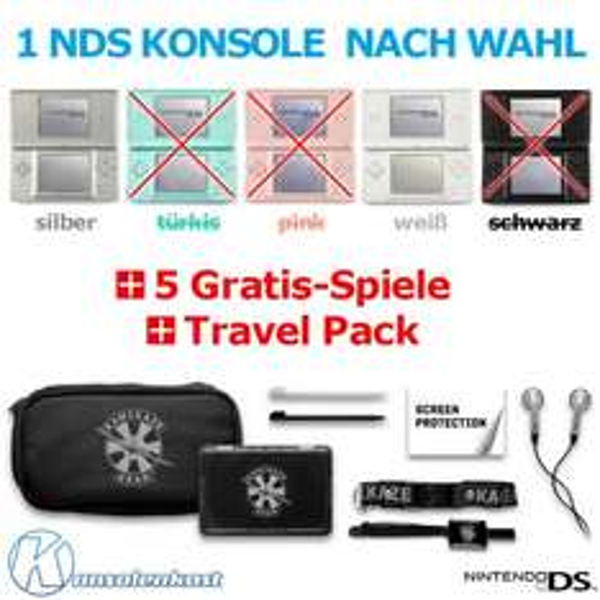 Gebrauchter DS Lite + Zubehörset + 5 Spiele für 59,99€
