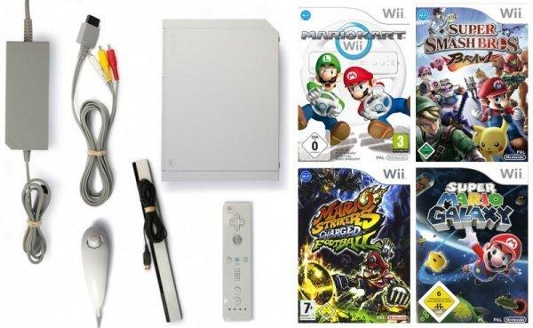 Gebrauchte Wii (weiß, mit Wlan) mit 4 Top Spielen für 129,99€