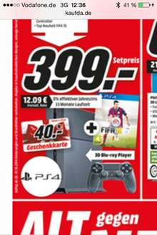 [Media Markt Trier]Playstation 4 + 2. Controller + Fifa 15
