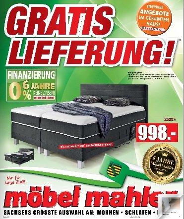 (lokal) Möbel Mahler in Siebenlehn Geburtstags Aktion, Boxspringbett für 998€ statt 2533€