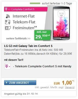 Telekomneuvertrag Complete Comfort S mit LG G3 und Galaxy Tab 4 10.1 o. andere Geräte