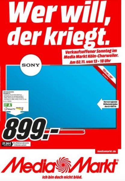 (lokal Media Markt Köln Chorweiler ) Sony KDL 60 W 605 für 899€ PS 4 am 2.11 für 333€
