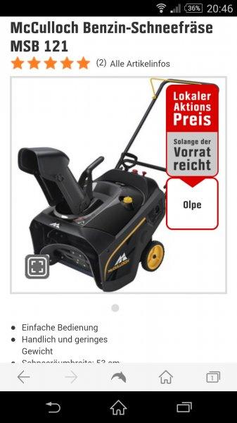 McCulloch Benzin-Schneefräse MSB 121 Lokal in Olpe für 199,99 Euro! Idealo 318,95 Euro