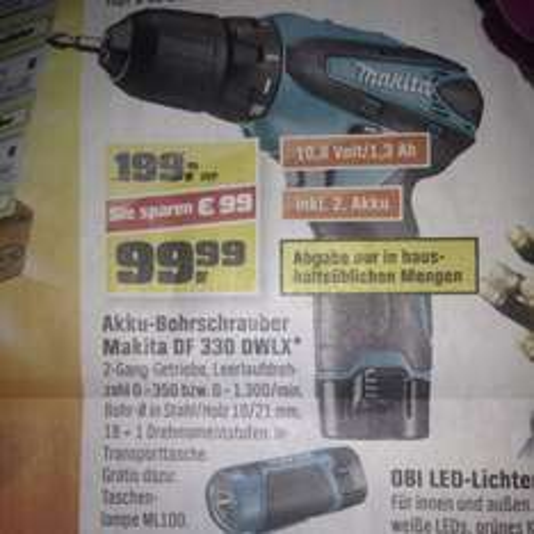 [Lokal MUC] Makita Akku-Bohrschrauber + LED Lampe DF330 DWLX 99,99