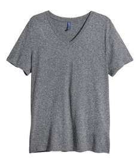 h&m V-Ausschnitt T-Shirt für nur 2€ +Vsk in dunkelgrau
