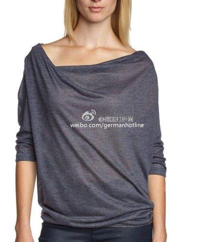 Amazon: edc by ESPRIT Damen T-Shirt mit Wasserfall-Ausschnitt