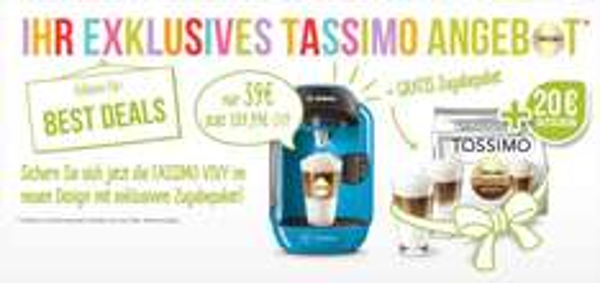 TASSIMO VIVY (T12) statt €109,99 für nur 39,00€ ink einem 20 € Gutschein + 2 Gläser und 1 Paket Latte Macchiato