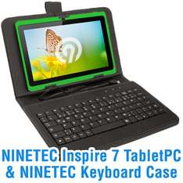 NINETEC Inspire 7 Tablet PC Dual Core Android 4.4 inkl. Schutzhülle mit Tastatur
