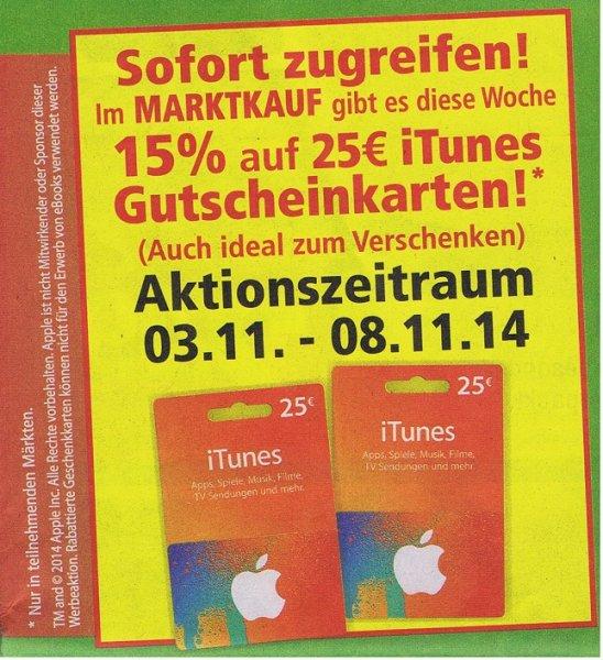 [Marktkauf Lübbecke]  iTunes -15% Rabatt auf 25€ Karten