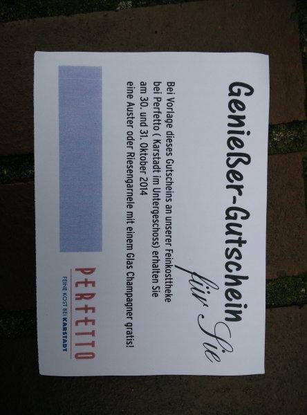 !Düsseldorf ! Karstadt / Perfetto Champagner + Auster gratis probieren