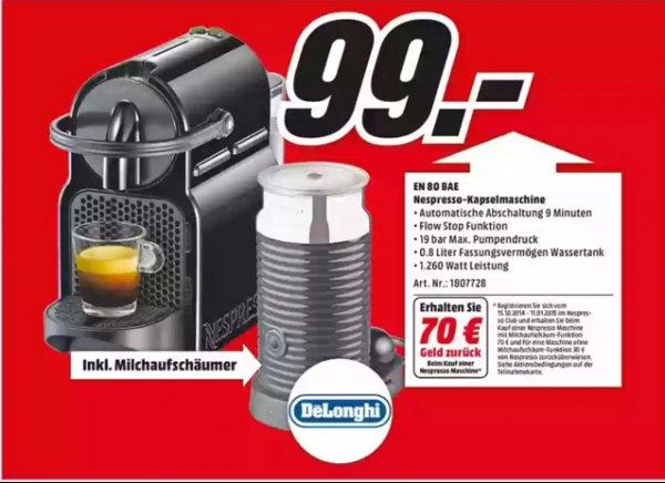 [Lokal Düsseldorf] Nespresso Kapselmaschine EN80BAE inkl. Milchaufschäumer für 99,00 EUR abzgl. 70,00 EURO Cashback 29,00 EURO