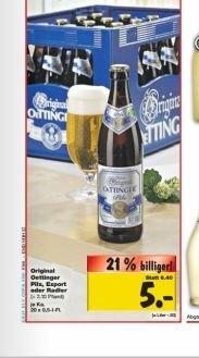 [Kaufland evtl. regional Münsterland] Oettinger 20*0,5L (Pils, Export, Radler) ab 3.11. für 5€