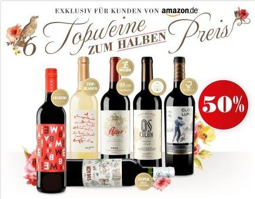 [Vinos.de] 60% Rabatt für 7 Weine durch Amazon-Aktion + Gutscheincode (VSK frei)