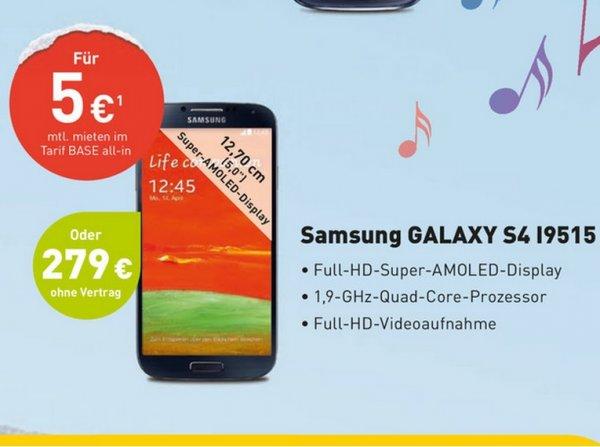 Samsung Galaxy S4 i9515 für 279€ @ Base (Offline)