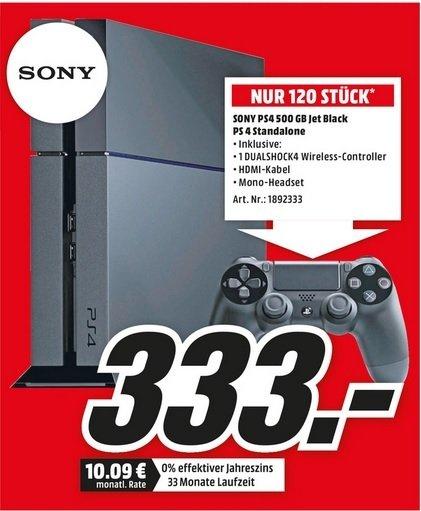 [Lokal] Sony Playstation 4 Schwarz für 333€ bei Mediamarkt Köln Chorweiler nur 120 Stück