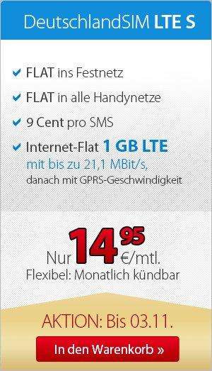 Deutschlandsim LTE S 1Gb für 14,95€ monatlich, monatlich kündbar. 2Gb Allnet flat für 19,95 oder 3Gb für 24,95€ nur für Neukunden zzgl. Anschlussgebühr