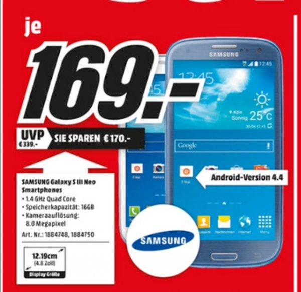 Samsung S 3 Neo, media markt aachen Lokal, Nur Heute