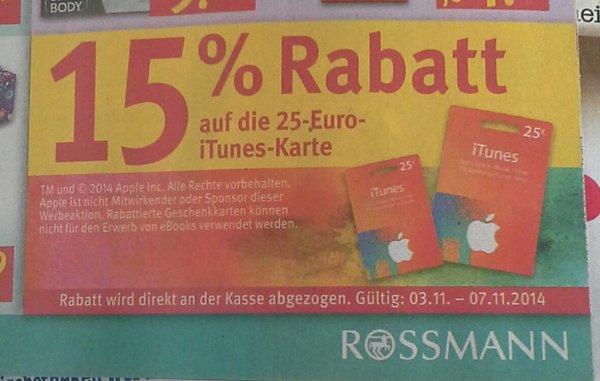Rossman 15% Rabatt auf itunes Karte 25€