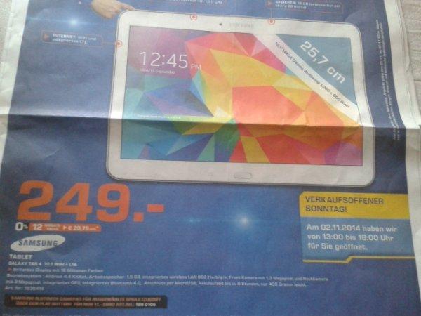 [Saturn Bremen] Samsung Galaxy tab 4 10.1 LTE für 249,- nur heute