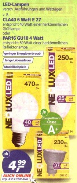 Real: Neolux- LED - Lampen ab 4,99 Euro, online heute (2.11.) versandkostenfrei