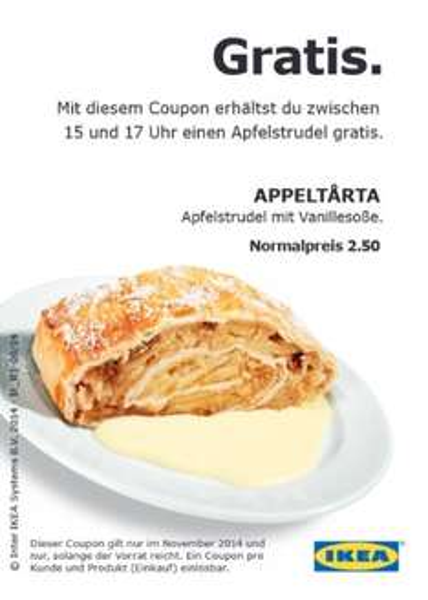 Ikea (Bundesweit): kostenloser Apfelstrudel