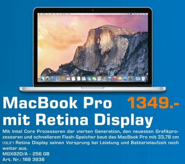 Saturn Apple MacBook Pro 13.3 Retina 8GB RAM 256GB SSD - Mid 2014 MGX82D/A für 1349,- UND DAZU 150,- € Saturn Gutschein