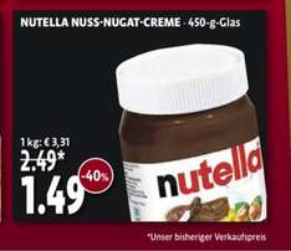 Tengelmann - Nutella 450g für 1,49€