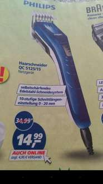 [Lokal & Online] Philips Haarschneider/Bartschneider QC5125