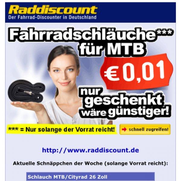 4 x 26 Zoll Fahrradschlauch für 3,03€ bei Raddiscount.de