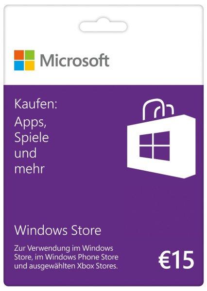 Microsoft Windows Store Gift Card, Wert 15 € für 11,99€