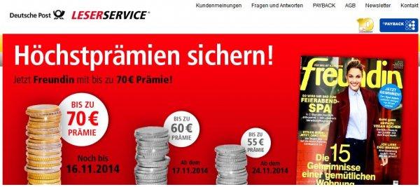 [leserservice.de] Prämienabo FREUNDIN mit bis zu 70,- € Prämie