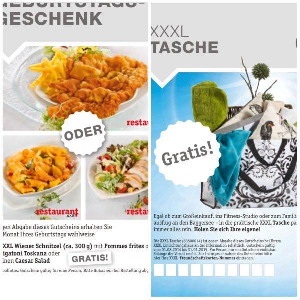 Schnitzel mit pommes oder Rigatoni oder Caesar Salat  UND Shopper  gratis in den XXXL Möbelhäusern