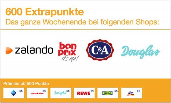 5€ Gutschein für Einkauf bei  Zalando, C&A oder Douglas durch Einkauf