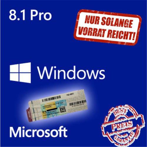 Windows 8.1 Professional 32/64 Bit Deutsch ORIGINAL COA Lizenzaufkleber für 34,95€ @eBay