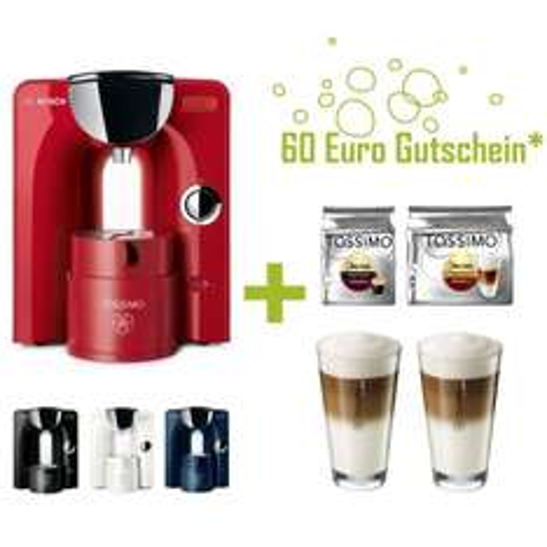 Bosch TASSIMO CHARMY + 60€ Gutschein + 2x Jacobs Kaffee TDiscs + 2x Gläser WMF @ebay