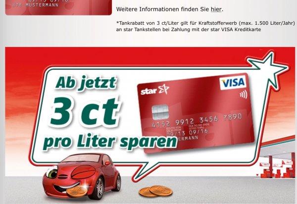 Star Visa Card beantragen und 3 Cent pro Liter sparen