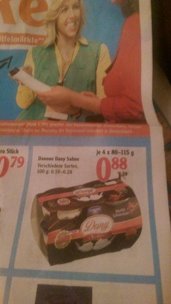 Danone Dany Sahne verschieden 4x80g oder 4x115gSorten für 0,88€ [Globus, Stockstadt] (evtl. bundesweit?)