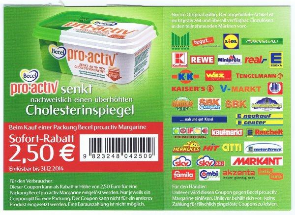 Becel pro activ 2,50€ eventuell sogar Freebie möglich, Margarine Kostenlos durch Sofort-Rabatt-Coupon