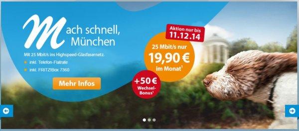 """(Lokal bzw. M-Net-Gebiet) M-Net, """"Mach schnell, München"""" 25 Mit/s nur 19,90€*, 50,-€ Wechsel-Bonus + 45,-€ Qipu + 40,-€ KwK"""