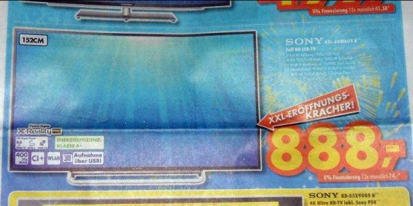 [Lokal RV, LI, BC, TT & UL] 60 Zoll Sony Bravia KDL-60W605 für 888 Euro Abholpreis bei Euronics XXL