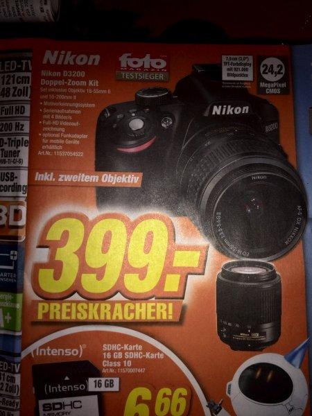 [Lokal] Nikon D3200 Doppel Zoom Kit bei Expert in Dinslaken, Neuss, Simmerath, Dormagen und Kamp-Lintfort