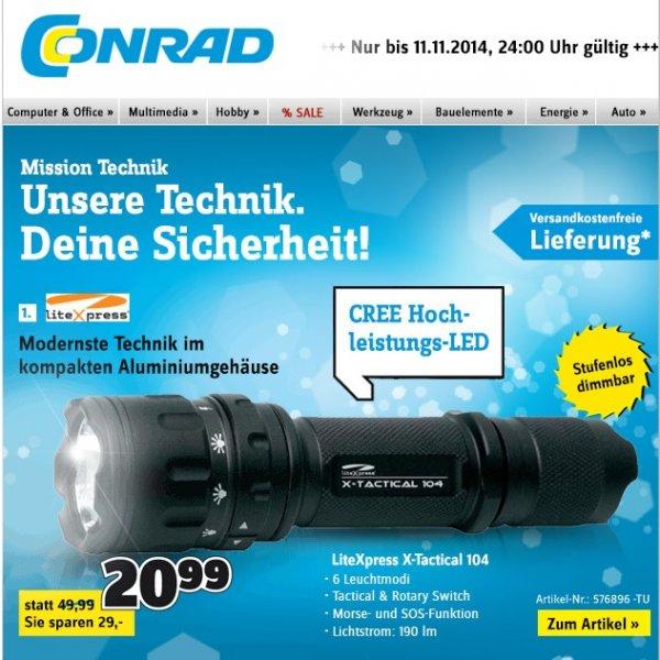 LED Taschenlampe LiteXpress X-Tactical 104 - Versandkostenfrei bei Conrad für 20,99€ bis 11.11.